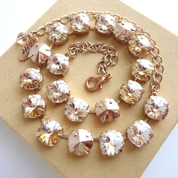 Shimmering Sunset- Swarovski crystal necklace in rose gold tones, Designer inspired, Siggy necklace