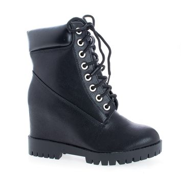 Bradley Black Pu By Shoe Republic, Lace Up Hidden High Wedge Heel Fashion Ankle Boots