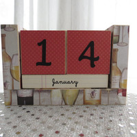 Perpetual Wooden Block Calendar - It's Wine O'Clock - Wine Bottles and Glasses