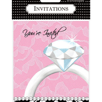 Bachelorette Party Diamond Invitations  Pack Of 8