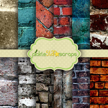 Brick Lane  Volume 1 - 8.5x11inch - Digital Scrapbook Papers - Brick Texture - Printable Backgrounds - INSTANT DOWNLOAD
