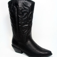 Women's Cool Cowgirl Embroidered Knee High Boot Shoes Black Tan Conac NEW 5 -10
