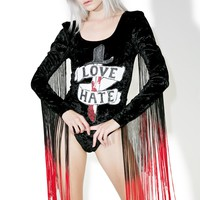 Love 'N Hate Velvet Fringed Bodysuit