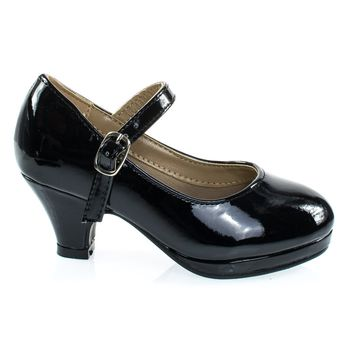 Dana63K Black Patent By Forever Link, Girl Round Toe Mary-Jane Pump w Platform. Children Shoes