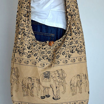 Capuchino - Bohemian Hippie Elephant Printed Cotton Crossbody Bag Sling Handmade Shoulder Bag Boho Hobo Messenger Bag Purse E128