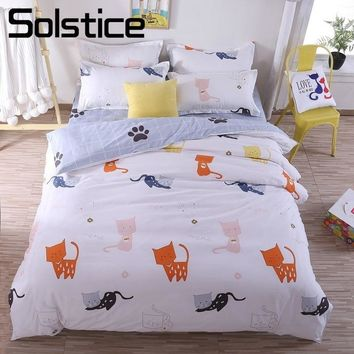 Solstice Home Textiles Cartoon Little Cat Duvet Cover Bed Sheet Pillowcase Boys Girls Kid Teen Bedding Sets King Queen Twin Size