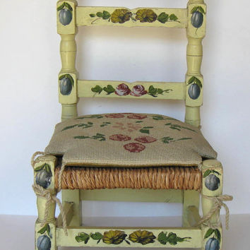 Vintage Child's Chair with hand stitched needlpoint seat cushion, Hand painted, Rush seat, nursery decor