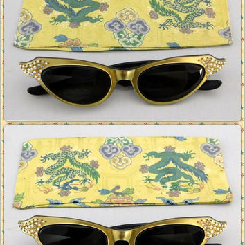 1950's Vintage Cat Eye Sunglassess with Gold Plastic Wraparound Eyeglass Frames & Rhinestones, Made in France