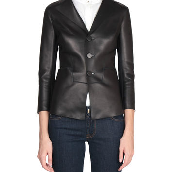 Dsquared2 Leather and stretch viscose jacket