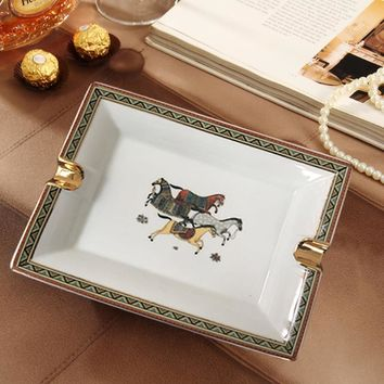 Square/Rectangle Luxury cigar Ashtrays Gadgets Vintage Style Horse Pattern Quality Ceramic smoking Ashtray
