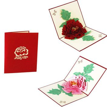 Valentine's Day 3D Card Paper Carving Flower For Love Anniversary