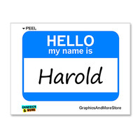 Harold Hello My Name Is Sticker