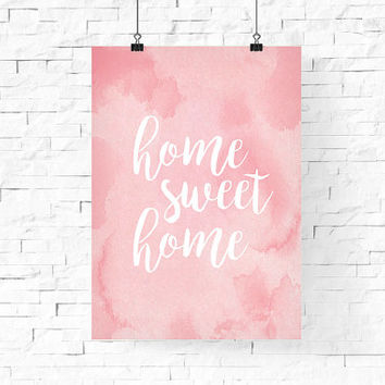 home sweet home printable | Pastel Pink Spring Printable Wall Art | Instant Download Digital Print | Home Decor | Wall Decor