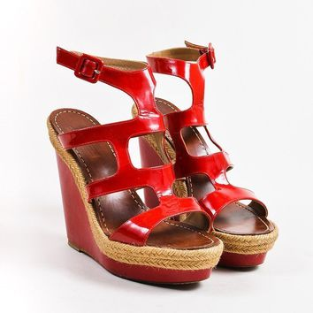 DCCK2 Christian Louboutin Red Patent Leather Salamanca 120 Espadrille Wedges