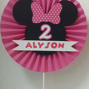 Sweet Personalized Rosette Minnie Mouse Inspired Birthday Centerpiece / Cake Topper