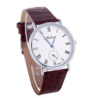 Unisex Casual Vintage Brown Leather Strap Wrist Band Watch