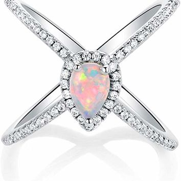 Ideas Criss Cross Rose Gold Plated Ring with White Pear Shaped Opal for Women