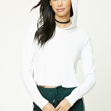 Ribbed Raw-Cut Hooded Crop Top