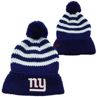 New Era New York Giants Women's Chunky Stripe Knit Ski Hat - Royal Blue/White
