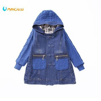 Trendy 2018 children  wind coat 5-13 year old girls all-match clothes denim coat Diamond jacquard Sweater sleeves pocket spring autumn AT_94_13