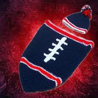 New England Patriots Inspired Football Baby Cocoon & Hat (Newborn to 3 months)