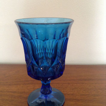 Vintage cobalt blue glass water goblet. Beautiful deep blue color...