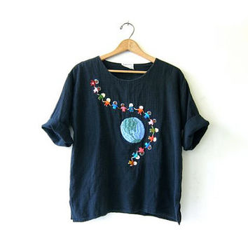 vintage black cotton gauze shirt. stitch work shirt. earth day top. world peace.