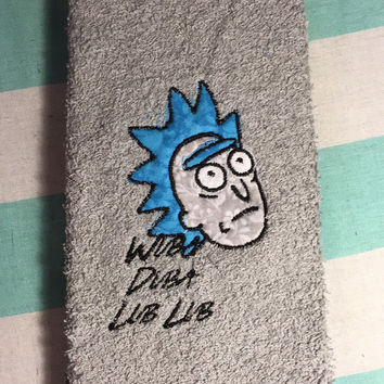 rick and morty wubba dubba lub lub embroidered decorative hand towel - Decorative Hand Towels