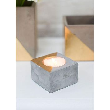 "Small Concrete Deux Candle Holder in Grey and Metallic Gold - 1.5"" Tall x 2.25"" Wide"