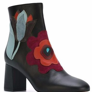Floral Embroidery Leather Ankle Boots