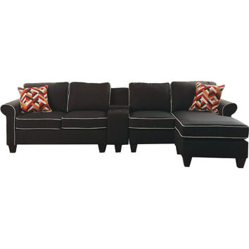 Acme 54240-42-43 4 pc Kelliava black fabric modular sectional sofa with USB power dock console