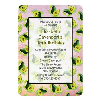 Green Avocados Watercolor Pattern Birthday Invite
