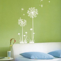 White Dandelion  Wall Decal Wall Sticker Home Decal Home Sticker