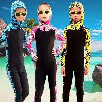 SBART Kids Long Sleeve Hooded Floral Diving Suit Full Body Swimwear Lycra Surf Wetsuits Children Surfing Wet Suits swimsuit