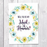 Maid Of Honour Card Printable, Will You Be My Maid Of Honour, Wedding, Mint Flowers, Flower Greeting Card, Flower Wreath, Instant Download