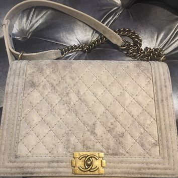 CHANEL Large  Boy Flap Bag Beige Gold 2013