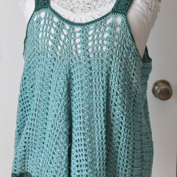 Crochet Shawl - Bamboo Blend Summer Cover - Seafoam