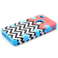 Heavy Duty 3 In 1 Hybrid Impact White Black Coral Chevron Pattern Blue Silicone Case Cover for Iphone 4 4S + Screen Protector