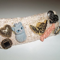 Hair Barrette - What is a Clair de Lune Kitty in love with? (Gray Cat Accessory - 10cm)  - Cat Ornament Hair Clip - Valentine's Day Gift