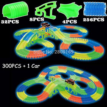 Glow race track Bend Flex Glow in the Dark Assembly Toy 112/160/256/300PCS Slot Race Track + 1PC LED Car Puzzle Educational Toys