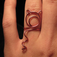 Wire Wrapped Adjustable Small Pig Head And Tail Ring