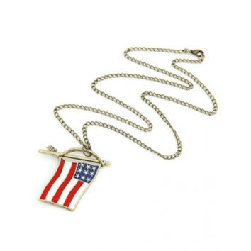 Chic Stars and Stripes Flag Pendant Sweater Chain - Golden