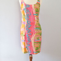 pastel mini dress - 90s pink blue orange green watercolor sleeveless sheath bodycon wiggle fit neon geometric print abstract tropical resort