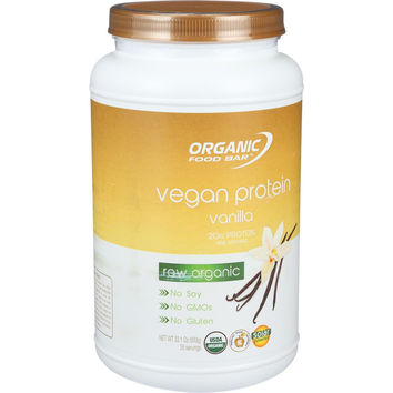 Organic Food Bar Vegan Protein Powder - USDA Certified Organic - Vanilla - 33.1 oz