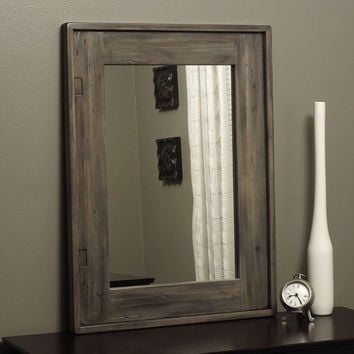 Rustic Mirror Distressed Wood Weathered Gray Taupe Farmhouse Barnwood Decorative