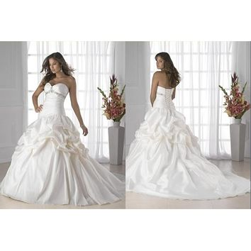 In Stock 2016 White Ivory Wedding Dresses Sweetheart Satin Women Bridal Gowns Backless With Train Vestidos de Novia