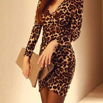 Leopard V-Neck Long Sleeve Bodycon Mini Dress