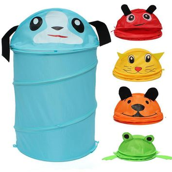 Folding Laundry Cylinder Household Storage Bin Hamper Tidy Basket Toy Box Bag
