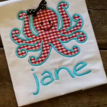 Girls ruffle tee octopus applique', gingham girls spring summer, beach resort boutique, ribbon bow, girls clothing, red white patriotic