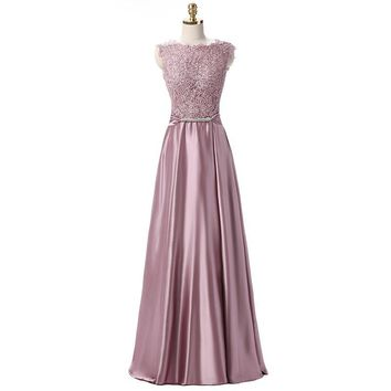 PotN'Patio Real Photo Satin Long Evening Dress With Bow 2017 Plus Size Lace Mother Of The Bride Dresses